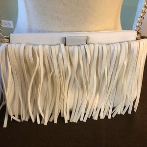 Handbags - White leather fringe bag